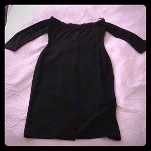 Zara Dresses - Black Off the Shoulder Bodycon Midi Dress